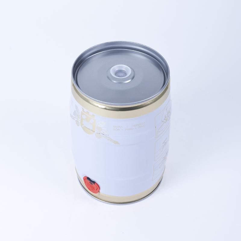 Partyfass 5 Liter, weiß/gold mit Braumotiv - Artikelnummer 420000130500