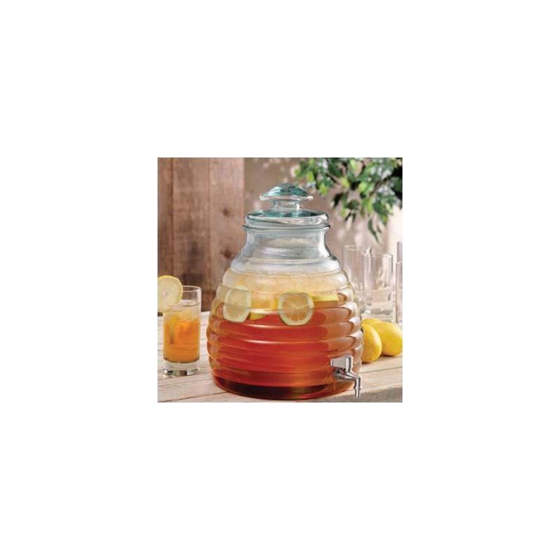 Damigiana alveare in vetro 11 litri, 100% riciclato - con coperchio in vetro con rubinetto