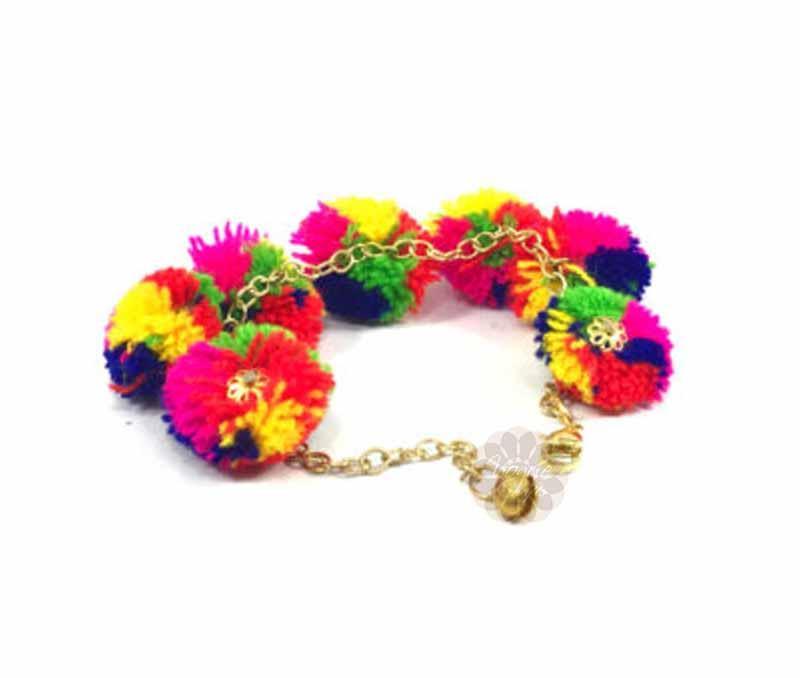 Fancy Multicolor Pom Pom Anklet -