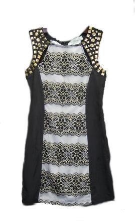 Tween Girl Lace Dresses with Gold Antique Studs - Manufacturer & Exporter | Formal Dresses | Ages 8 - 14