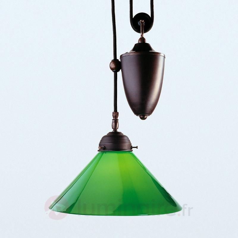 Suspension Jonas avec abat-jour vert - Suspensions en verre