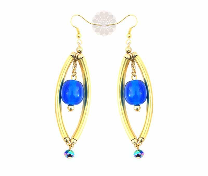 Long Blue Bead Earrings -