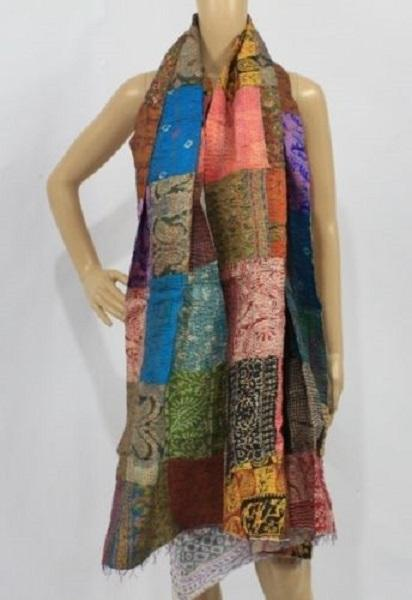 Indian Silk Kantha Patchwork stole