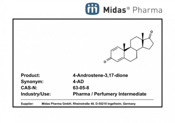 4-Androsteno-3,17-diona - 4-Androsteno-3,17-diona; 4-AD, CAS 63-05-8; Intermediario