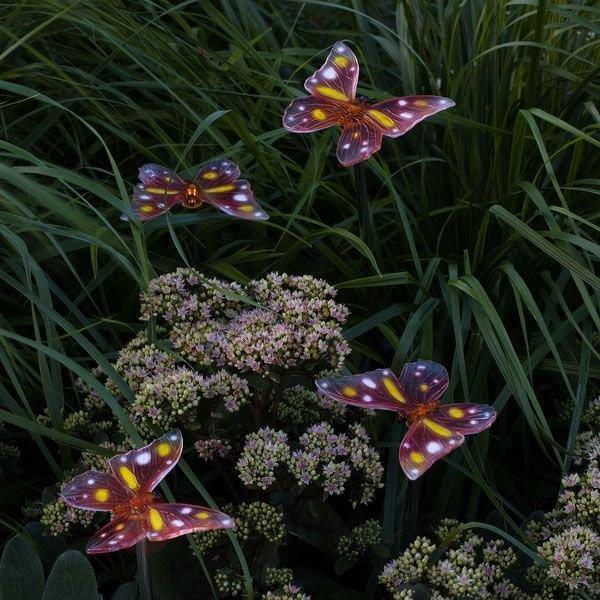 Lampe solaire papillon ASSISI set de 4 - Lampes solaires décoratives