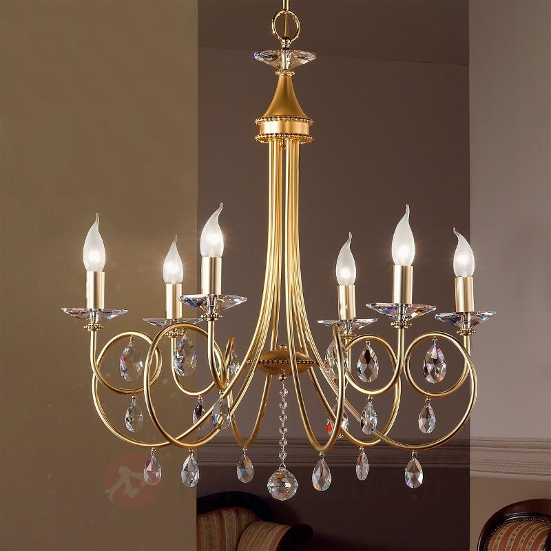 Lustre VIOLETTA à 6 ampoules, doré - Lustres en cristal