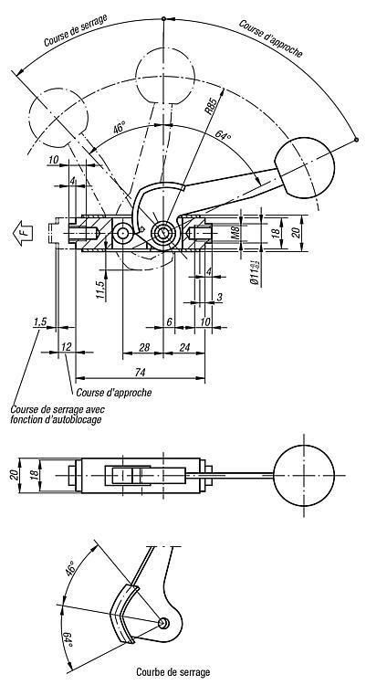 Poussoir à levier - Crampons, mors de serrage, vis et écrous de serrage