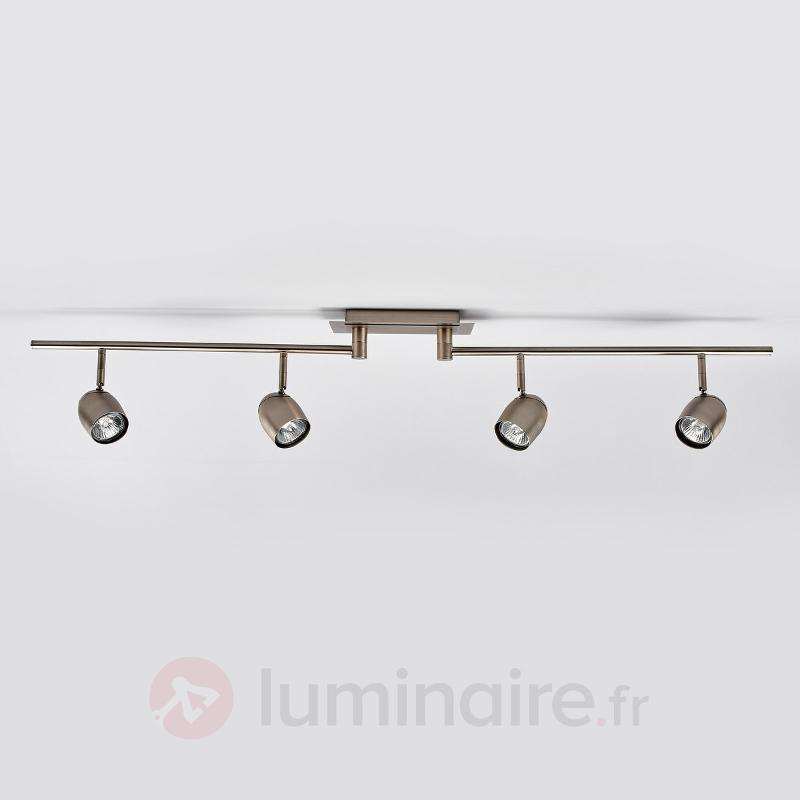 Plafonnier à quatre lampes Mariana en nickel - Spots et projecteurs halogènes
