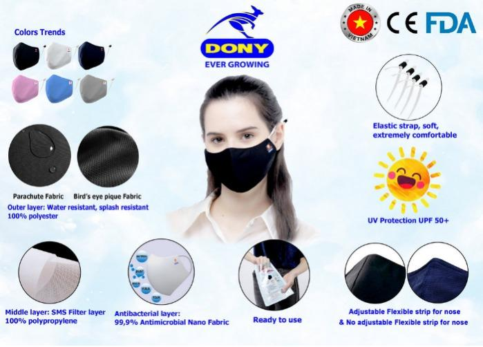 Reusable Face Mask: 3 layer COVID cloth FDA cotton OEM ODM - COVID fabric mask, antimicrobial antibacterial antiviral anti-droplet respirator