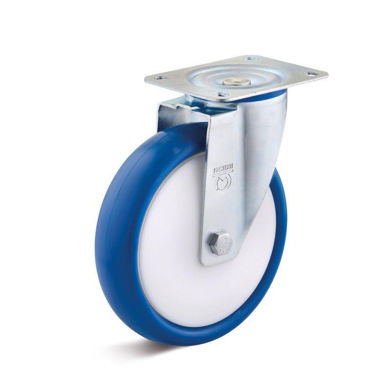 Polyurethan Leichtlaufrollen bis 300 kg - PUBK Radserie in Standard IL-Gehäuse Stahlblech, verzinkt