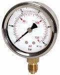 Glycerine pressure gauge pressure line G 1/2,... - Glycerine-filled pressure gauge, connection radial on bottom