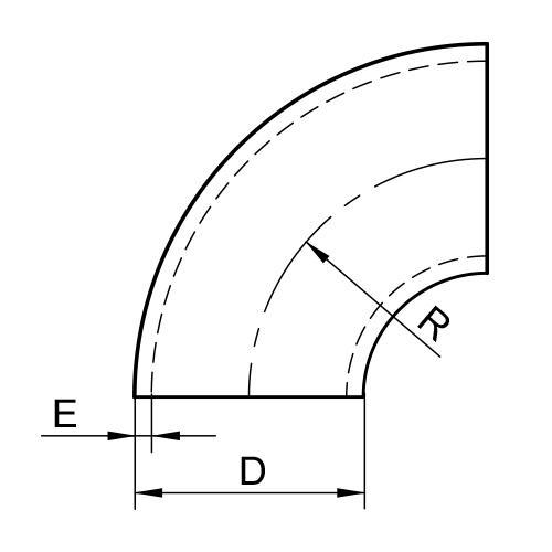 COUDE ISO 3D À 90° - ROULÉ SOUDÉ INOX 1.4307 - 1.4404 (5611)