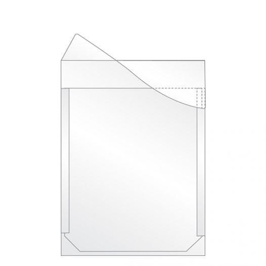 Plastic folder with flap, self-adhesive -