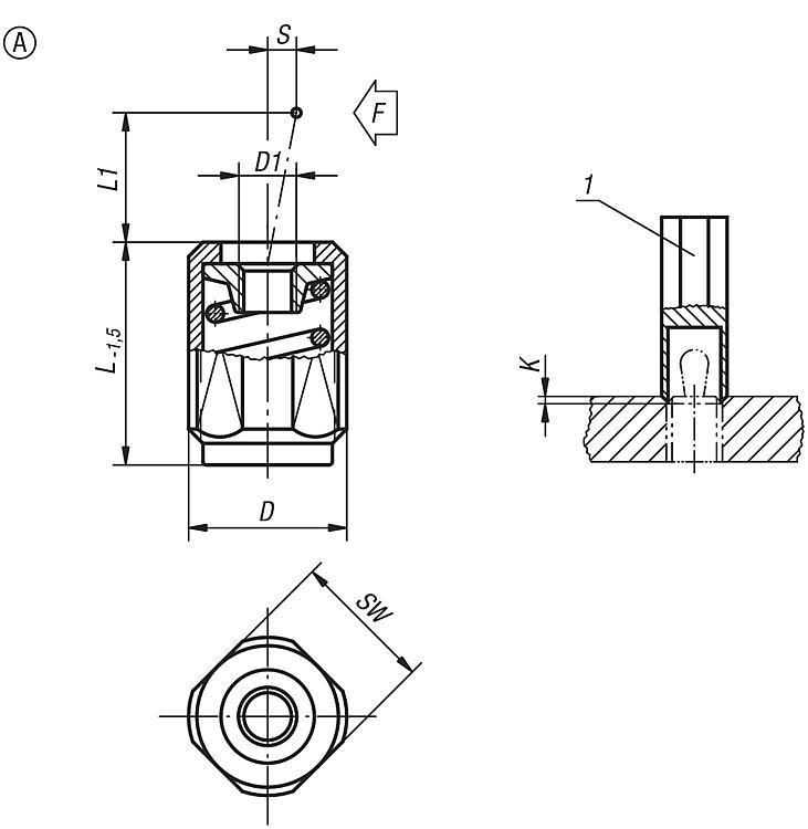 Poussoir latéral à ressort à corps fileté sans ergot - Poussoirs latéraux à ressort