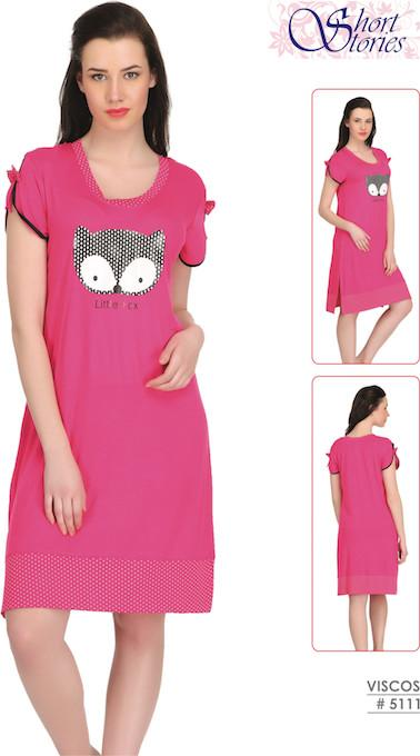 Pink Viscose Short Nighty #5111