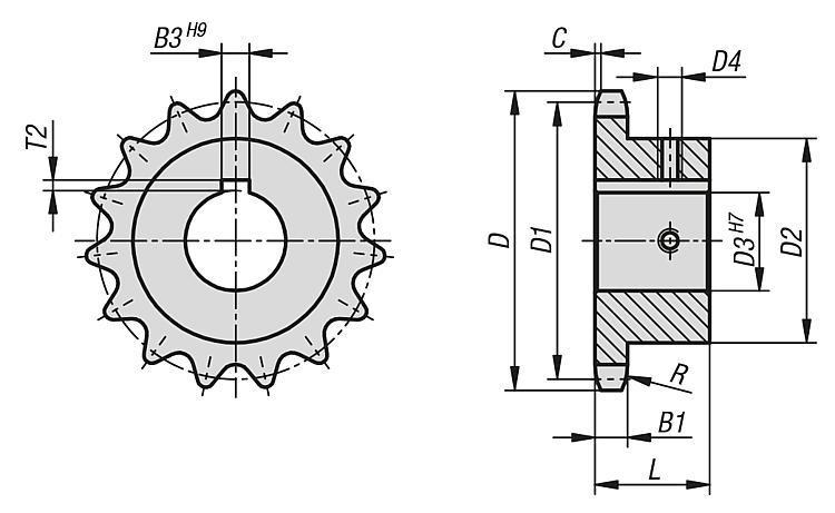 """Pignons simples 1"""" x 17,02 mm DIN ISO 606, prêts à monter - Chaînes et pignons"""