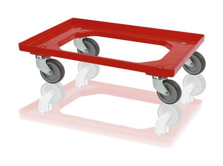 Transport trolleys - Crate dolly 4 steering wheels - red