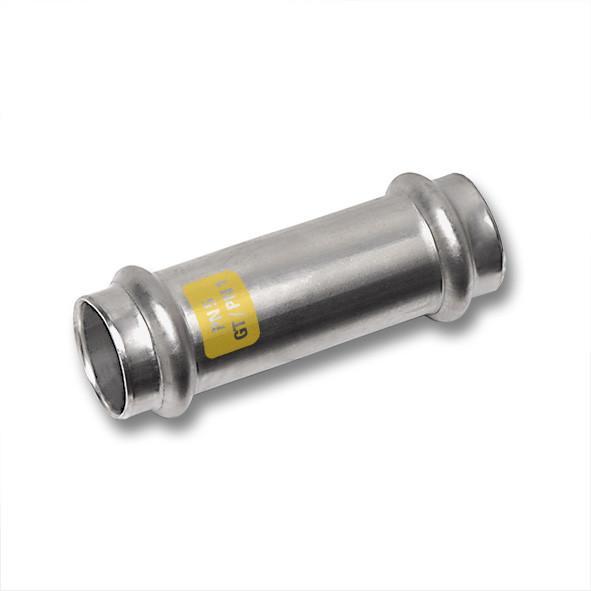 Edelstahl-Rohrleitungssystem NiroSan® Gas, Schiebemuffe - NiroSan® Gas Schiebemuffe, beidseitig mit Pressanschluss