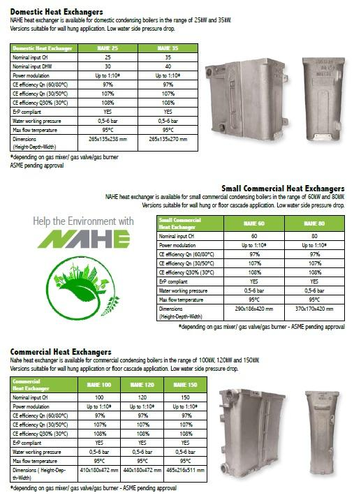 NAHE Aluminium Heat Exchangers for condensing boilers -
