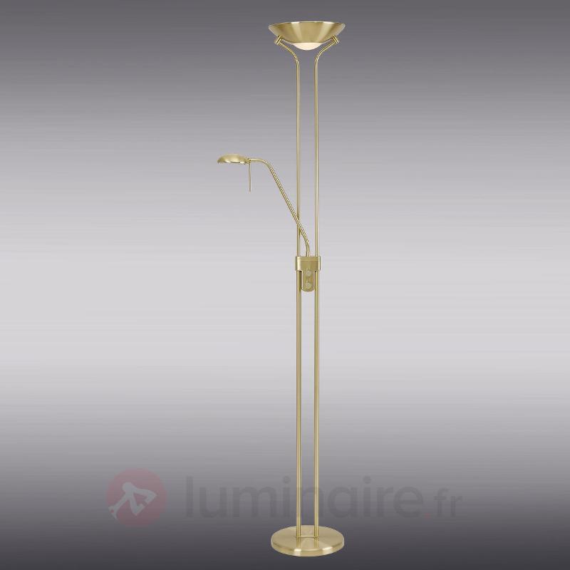 Lampadaire Malena couleur laiton avec variateur - Lampadaires à éclairage indirect