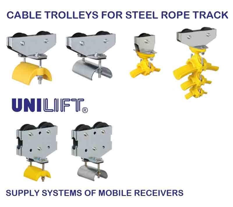 Cable trolleys for steel rope track
