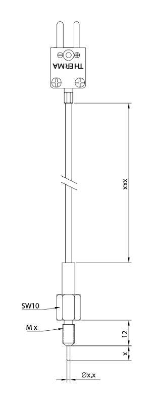 Screw-type TC   Fibreglass   Type J - Screw-in thermocouple