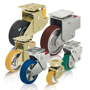 Spring-loaded heavy duty castors - null