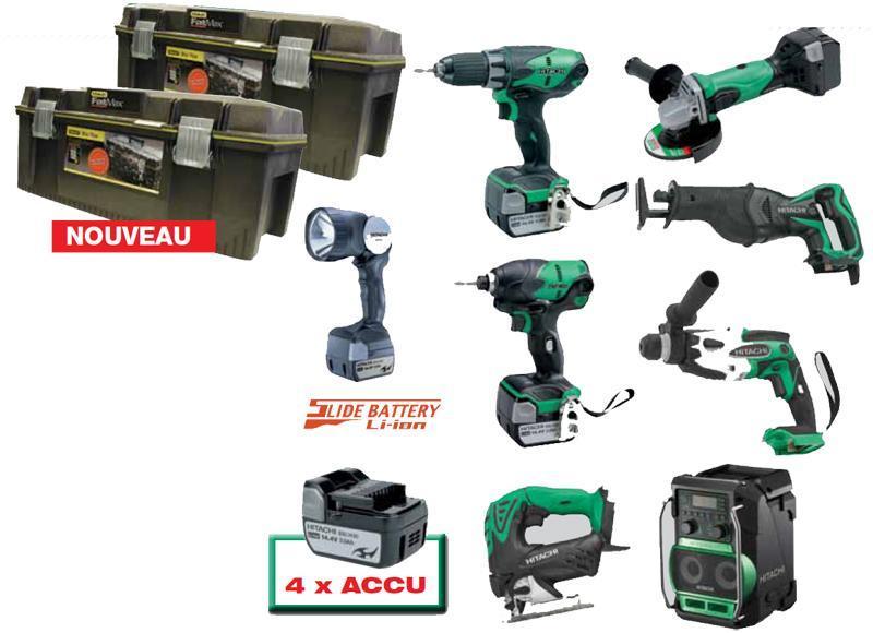 8 machines 14 volts LI-ION avec 4 accus 3.0AH - null