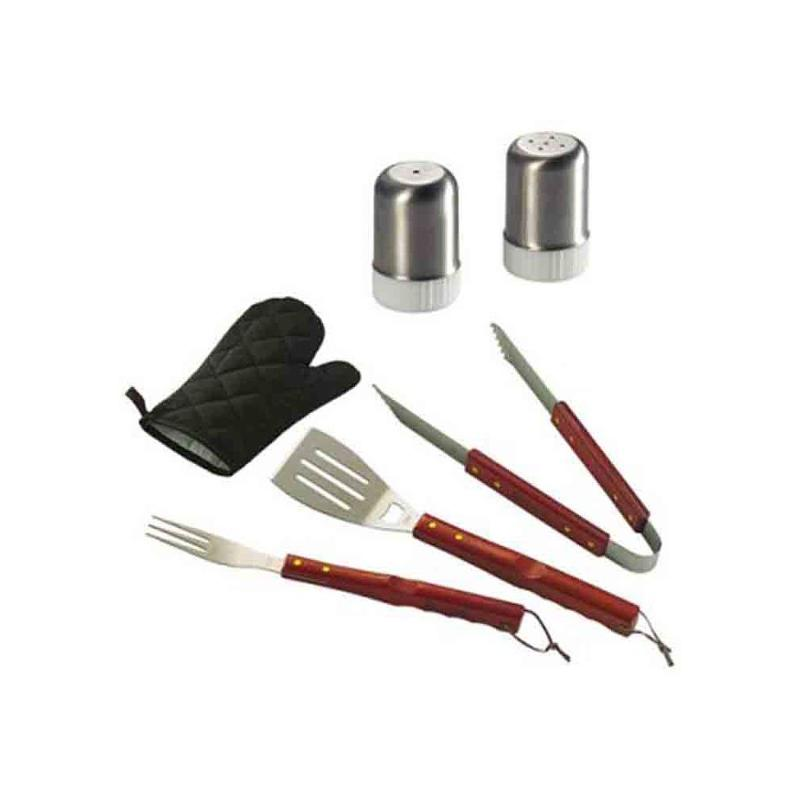 Tablier set barbecue noir/rouge