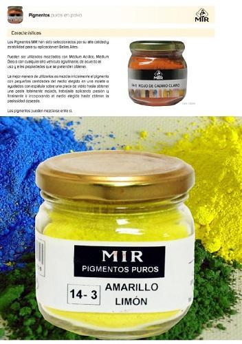 Pigmentos puros en polvo MIR - Pigmentos puros en polvo MIR Tarros Vidrio 150 ml.