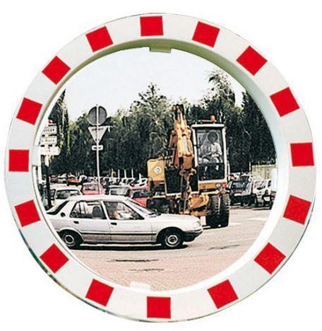 Miroir Travaux Publics Rouge & Blanc - Sécurité Routière