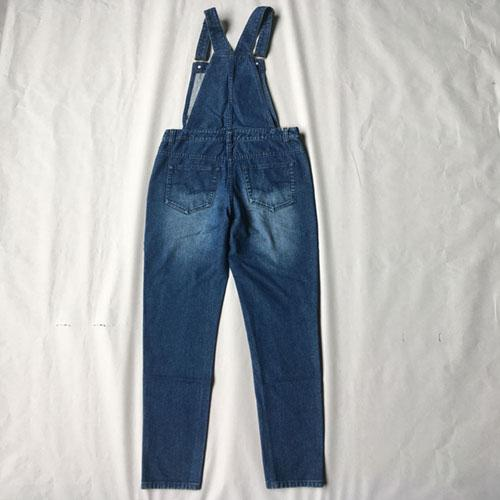 Pantalones de liga de mezclilla para mujer - Vestido azul marino del dril de algodón