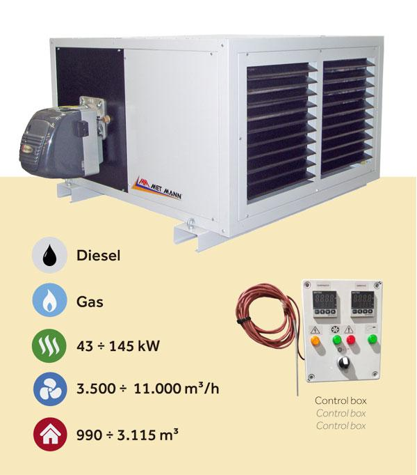Procesos de secado industriales de 43 a 145 kW - AGM - generadores de aire caliente para procesos de secado