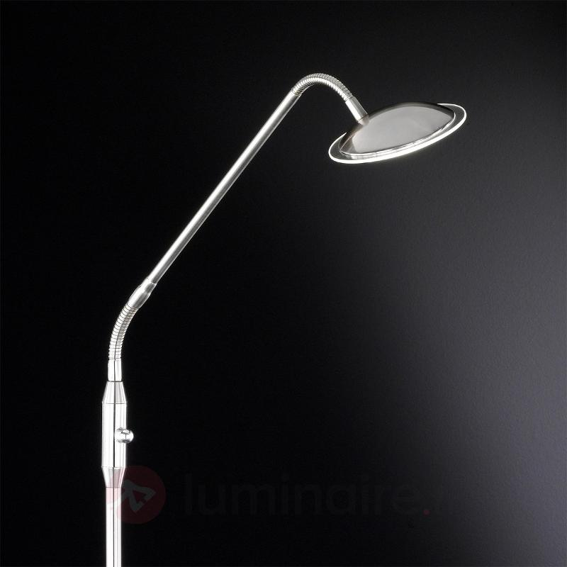 Lampadaire LED Twin à 1 lampe nickel - Lampadaires LED