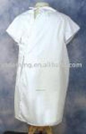 Vestido de examen de manga corta no tejido hospital desechab