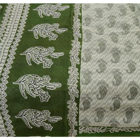 Vintage Pure Cotton Saree - Sanskriti Indian Vintage Printed Saree 100% Pure Cotton Craft Fabric Green Sari