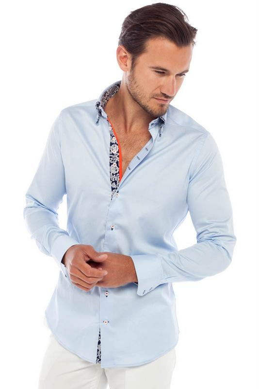 Private Label Double Collar Light Blue Dress Shirts