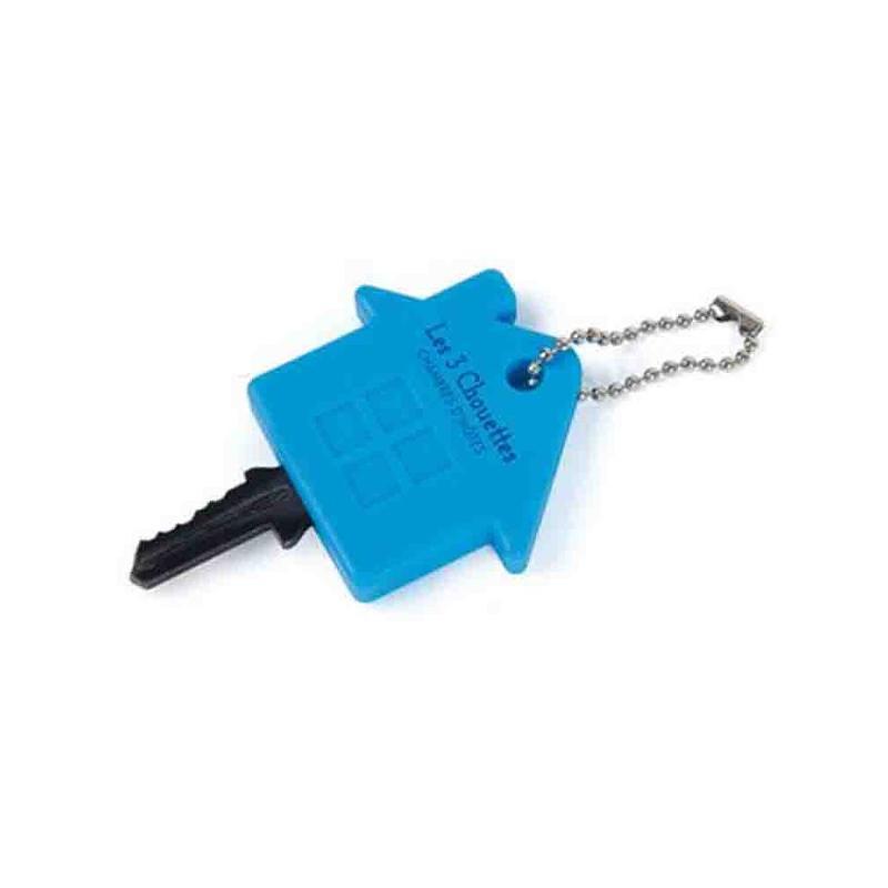 Couvre-clés maison bleu - Porte-clés métal