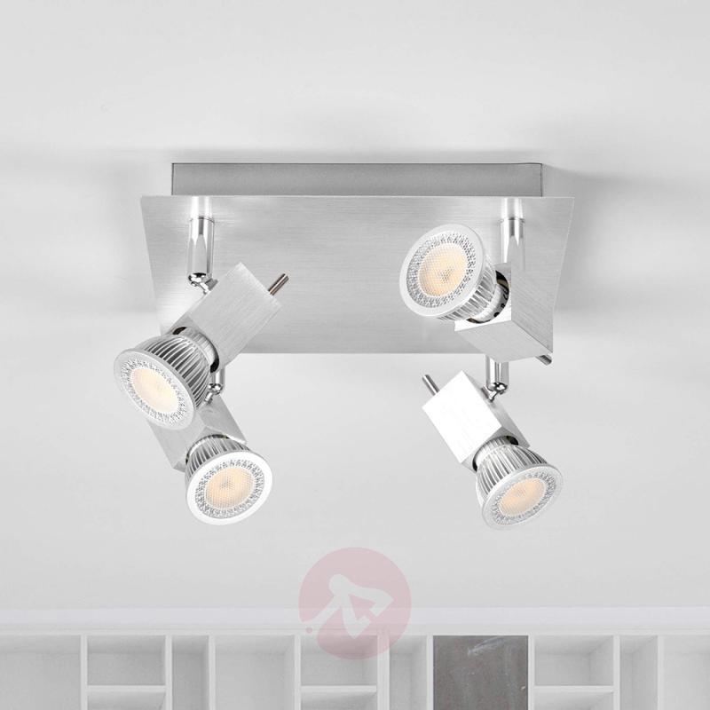 Four-bulb Sevina ceiling light, aluminium - indoor-lighting