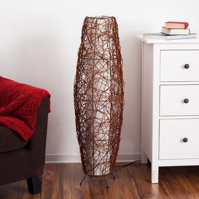 Lampe de sol Medine en rotin - Lampadaires en bois