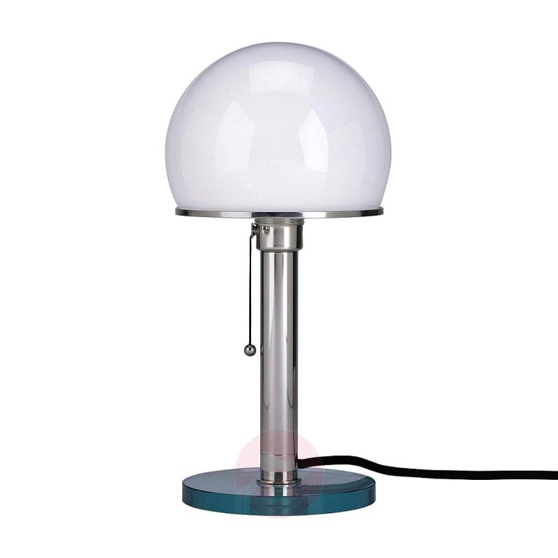 Wagenfeld table lamp with glass base and metal rod - design-hotel-lighting