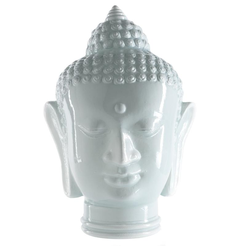 TÊTE DE BOUDDAH EN VERRE BLANCHE CABEZA DI BUDA 30 CM - Vases, Lanternes, décoration