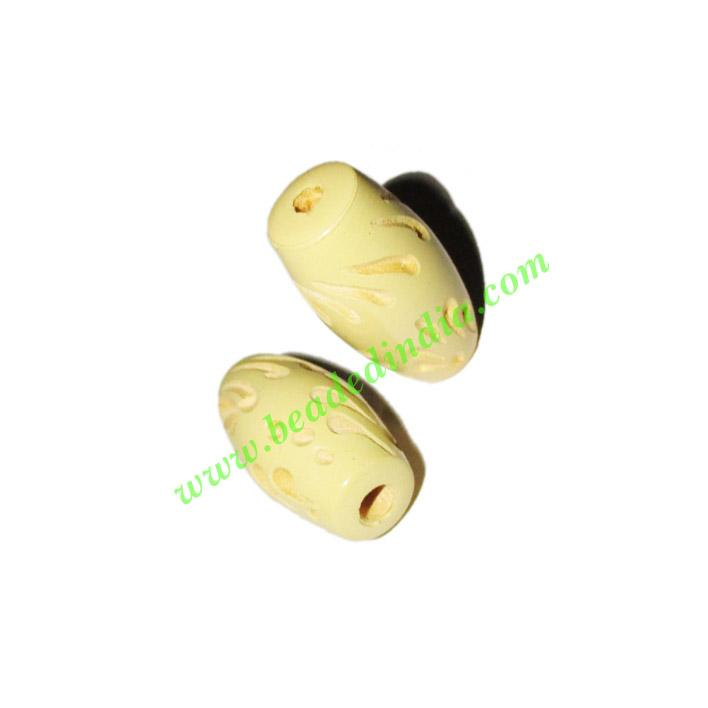 Wooden Carved Beads, size 13x25mm, weight approx 1.75 grams - Wooden Carved Beads, size 13x25mm, weight approx 1.75 grams