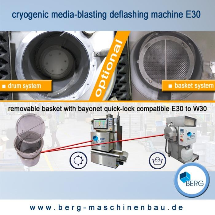 Cryogenic media-blasting deflashing machine - for the deburring of elastomers, plastomers, duromers and zinc die-casts