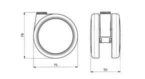 "Reinforced copolymer ""H"" type hard treads - CASTOR EMI Ø mm. 75 ""GEMIOPEN"""