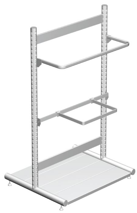 Modular shop rack systems & instore interior shelving design - Special compositions with round upright