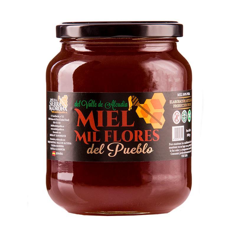 "Envase Miel Mil Flores 1Kg - Envase cristal 1 Kilo de miel Mil flores ""Del Pueblo"""