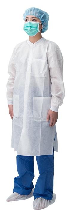 Snap Button Lab Coat - Material:SMS/PP non-woven