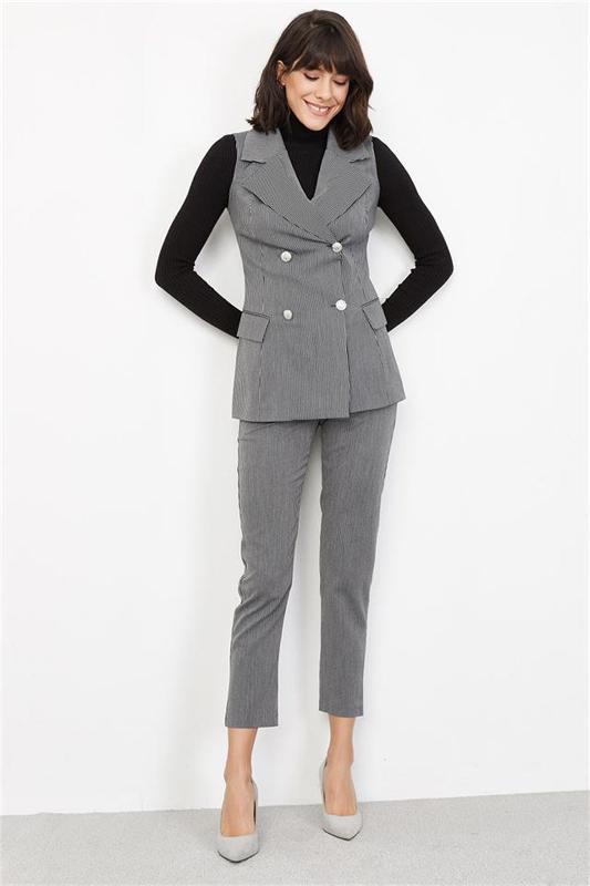 Women's Black Stripe Vest - Women's Vest