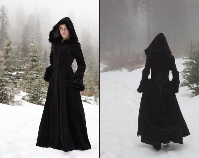 Hooded Velvet Coat with Fur Trims